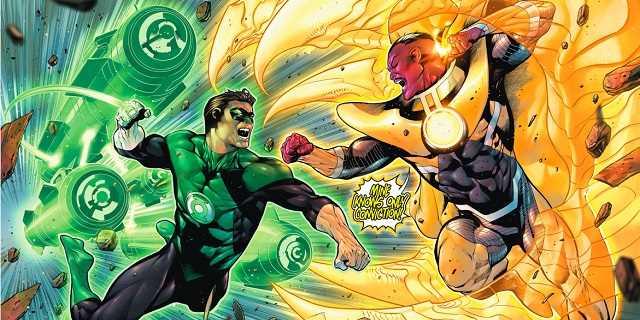 'Hal Jordan vs Sinestro' em um dos muitos embates dos Lanternas.