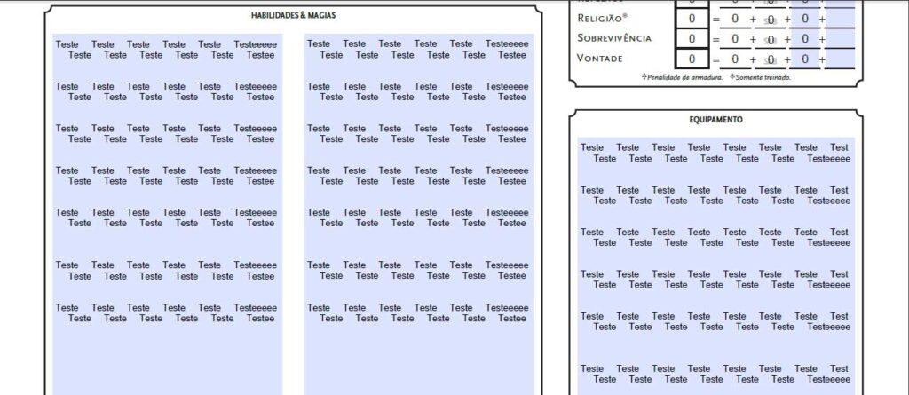 """Novos campos de""""Habilidades & Magias"""" e """"Equipamentos"""" na v 1.3 da FichaT20."""