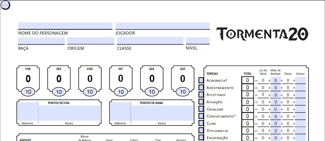 Ficha de Personagem Tormenta 20. Cabeçalho da FichaT20 v 1.5.a.