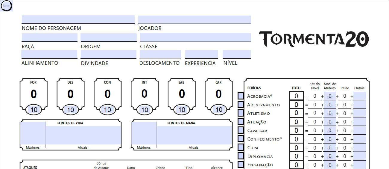Ficha de Personagem Tormenta 20. Cabeçalho da FichaT20 v 1.5.b, com campos adicionais.