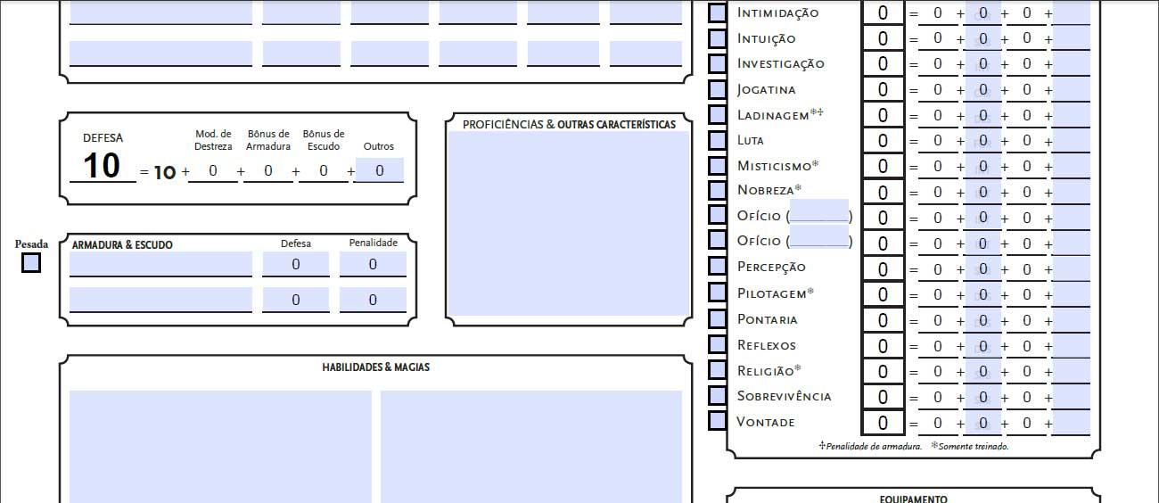 """Ficha de Personagem Tormenta 20. Botão """"Pesada"""" ao lado da descrição de Armadura e o Mod. de Atributo disponível para edição."""